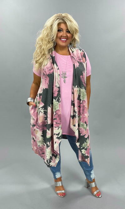48 OT-B {All She Needs} Grey Pink Floral Print Soft Knit Vest PLUS SIZE XL 2X 3X