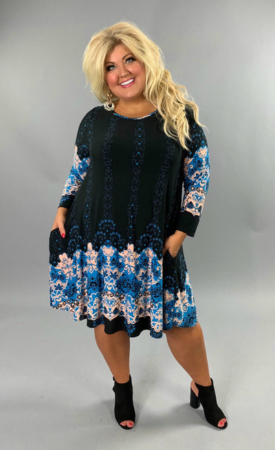 PQ-E {Race The Clock} Black Dress with Blue Floral Border Print