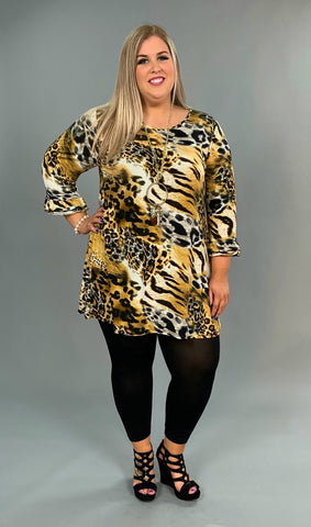 PQ-X {Eye Of The Tiger} Animal Print Dress Ruffle Sleeves Extended Plus