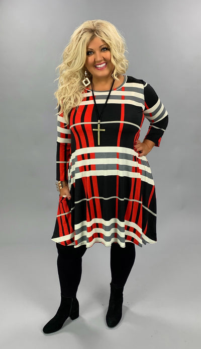 PQ-S {Classic Addition} Red Black Ivory Large Plaid Dress PLUS SIZE XL 2X 3X