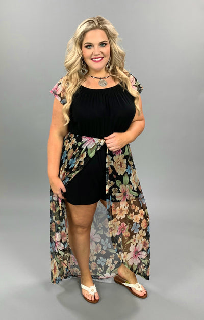RP-B {Floral Occassion} Black Romper Sheer Floral Overlay PLUS SIZE 1X 2X 3X