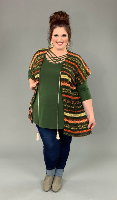 OT-T {Our Time} Olive/Rust Tribal Print Kimono W/ Tassel