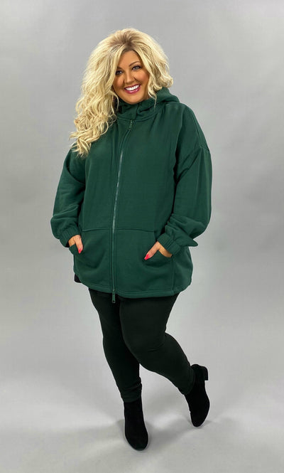 OT-J {Comfy Chic} Hunter Green Hoodie Jacket Full Zipper PLUS SIZE 1X 2X 3X