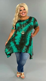 PSS-F {Morning Glory} Asymmetrical Jade Tie-Dye Print Tunic Extended Plus