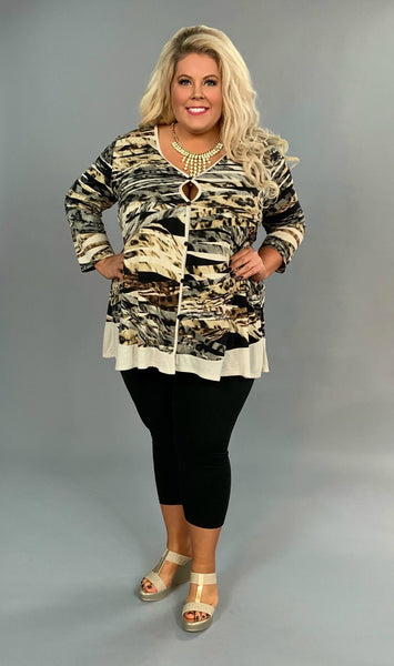 PQ-S {Dramatic Look} Animal Print Tunic with Button Detail FLASH SALE