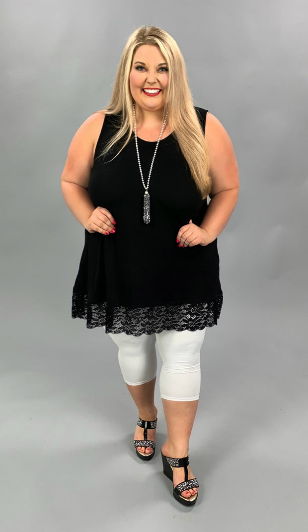 SV-U (Right For You) Black Sleeveless Tunic With Lace Hem PLUS SIZE 1X 2X 3X SALE!!