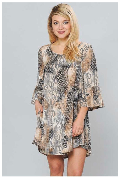 PQ-Q {Don't Rattle Me} Tan Snake Print Bell Sleeve Dress  EXTENDED PLUS SIZE 4X 5X 6X
