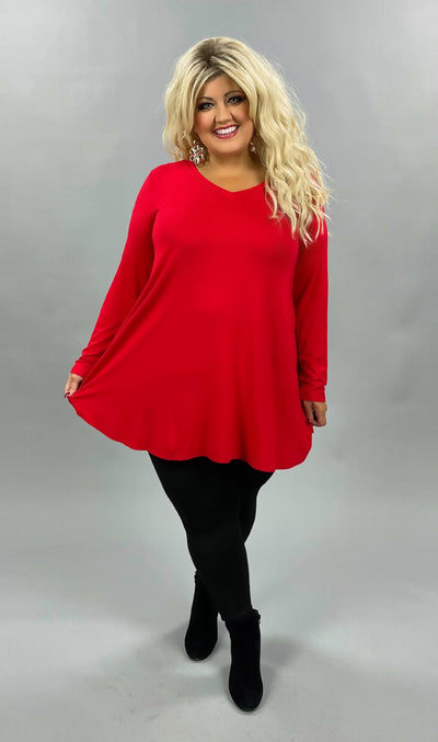 38 SLS-E {Nothing Basic} Red V-Neck Long Sleeve Tunic CURVY BRAND EXTENDED PLUS SIZE 3X 4X 5X 6X