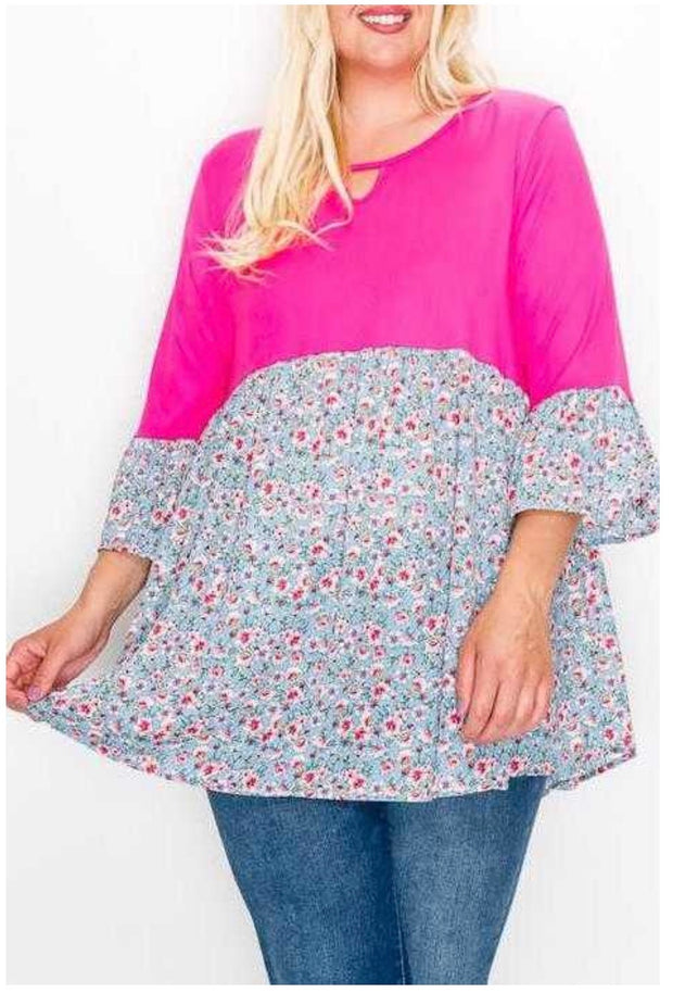 65 CP-J [Love Freely} Pink Blue Floral Contrast  EXTENDED PLUS SIZE 4X 5X 6X