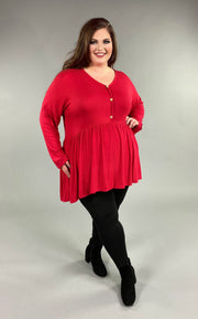 SLS-O {Not So Simple} Red Babydoll Hi-Lo Top with Buttons Extended Plus Size SALE!!