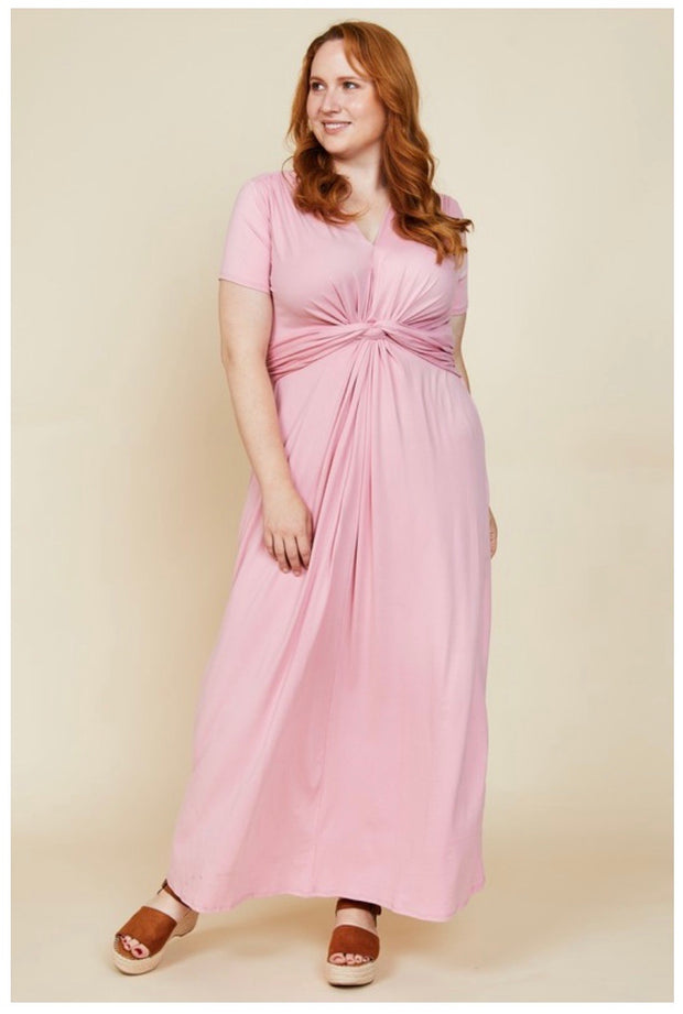 LD-B {When In Rose} Rose Color V-Neck Maxi Dress PLUS SIZE 1X 2X 3X