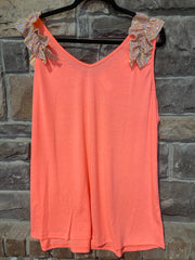 SV-B {Tequila Sunrise} Neon Orange Top w/Tiny Sequin Detail PLUS SIZE 1X 2X 3X