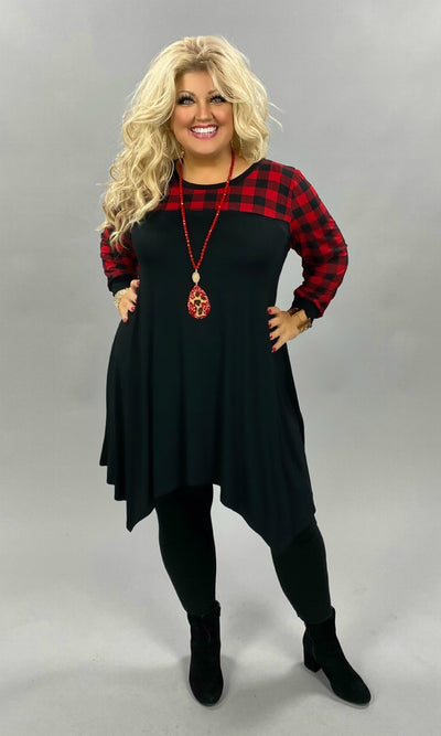 10-21 CP-R [Something Special} Red Black Plaid Contrast Tunic CURVY BRAND EXTENDED PLUS SIZE 3X 4X 5X 6X