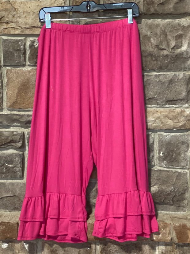 BT-L {Cute As Can Be}Fuchsia Double Ruffle Capri Pant Curvy Brand EXTENDED PLUS SIZE 3X 4X 5X 6X