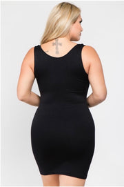 TK- {Shapely Support} Extra Long *BLACK* Spandex Tank PLUS SIZE