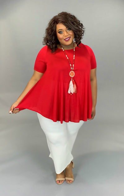 SSS-B (A Must Have) Red Tunic With Rounded Hem EXTENDED PLUS 3X 4X 5X