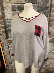 15 CP-F {Cute And Cozy} Grey Red Plaid Neck Detail Tunic PLUS SIZE XL 2X 3X