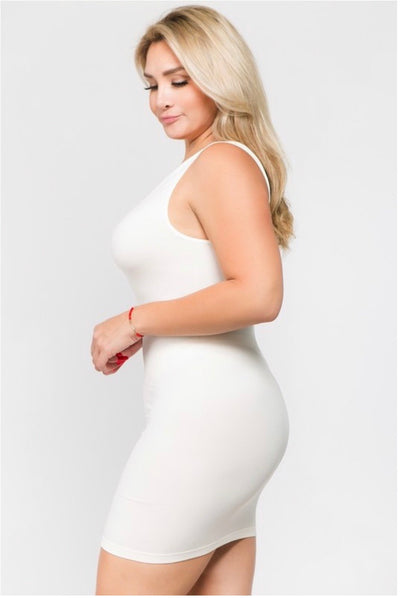 TK- {Shapely Support} Extra Long WHITE Spandex Tank PLUS SIZE