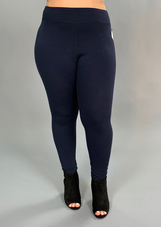 "LEG/BT -""Sofra"" NAVY Cotton/Spandex Leggings"