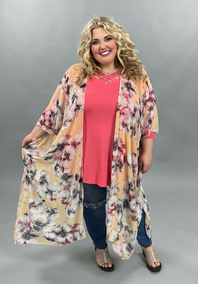 62 OT-E {Petals At Play} Vanilla Floral Kimono PLUS SIZE XL 2X 3X