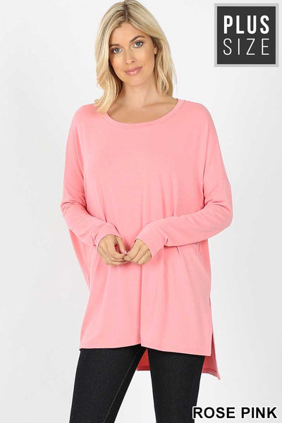 25 SLS-C {A Step Back}  SALE!! Baby Pink Long Sleeve Top PLUS SIZE XL 2X 3X