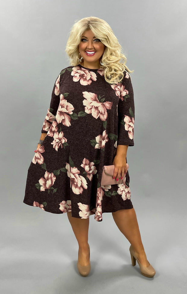 50 PQ-B {Perfect Bouquet} Brown Dress Pink Flowers EXTENDED PLUS SIZE 3X 4X 5X
