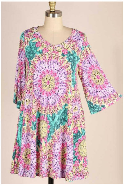 PQ-A {Spring Is Here} Lilac/Pink Floral Dress PLUS SIZE 1X 2X 3X