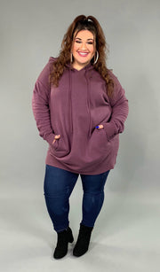 HD-L {Having A Blast} EGGPLANT Long Hoodie with Pockets SALE!
