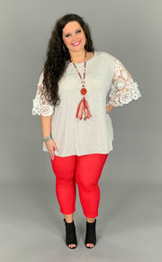 CP-L {Tainted Love} Gray Top White Crochet Floral Sleeves PLUS SIZE 1X 2X 3X