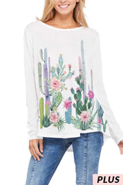 50 GT-C (Blooming Cactus) Ivory Tunic with Printed Cactus 1X 2X 3X Plus Size