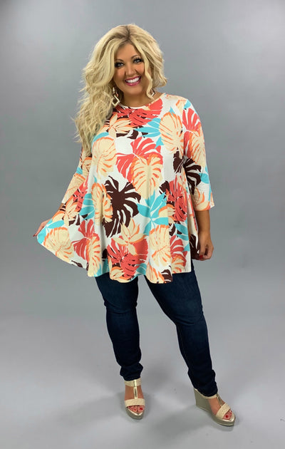 PQ-Q {Reason To Stay} Ivory Tunic Aqua Coral Rose Leaf Pattern EXTENDED PLUS SIZE 3X 4X 5X