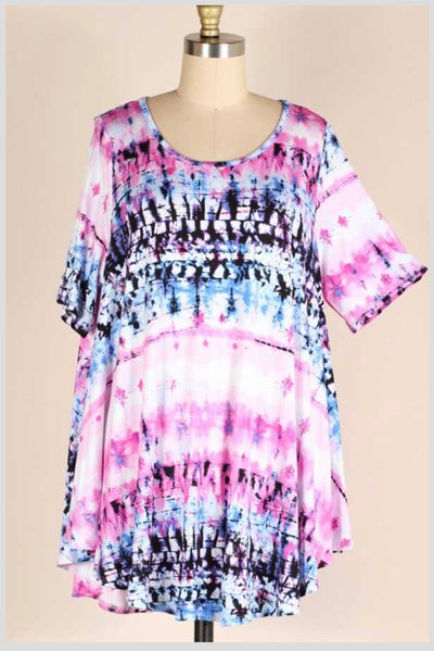 PSS-E {Spark Interest} Blue/Pink Bamboo Tie Dye Tunic EXTENDED PLUS SIZE 3X 4X 5X