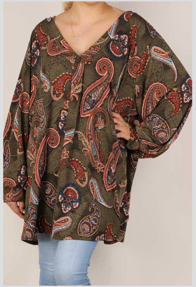 PQ-T {Fall Over You} Olive Rust Paisley V-Neck Tunic EXTENDED PLUS SIZE 4X 5X 6X