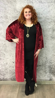 OT-{Extended Plus} Burgundy Floral Soft Velvet Cardigan SALE! PLUS SIZE 4X 5X