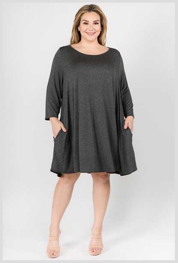 SQ-M (Simple Comforts) Solid Charcoal Dress With Pockets EXTENDED PLUS