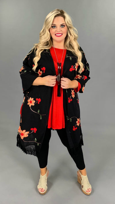OT-A Overcome The Day Black Floral Long Cardigan W/ Fringe