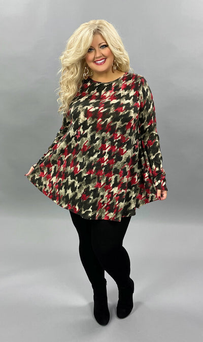 35 PLS-B {Fiery Nights} Red Charcoal Ivory Printed Knit Top EXTENDED PLUS SIZE 3X 4X 5X