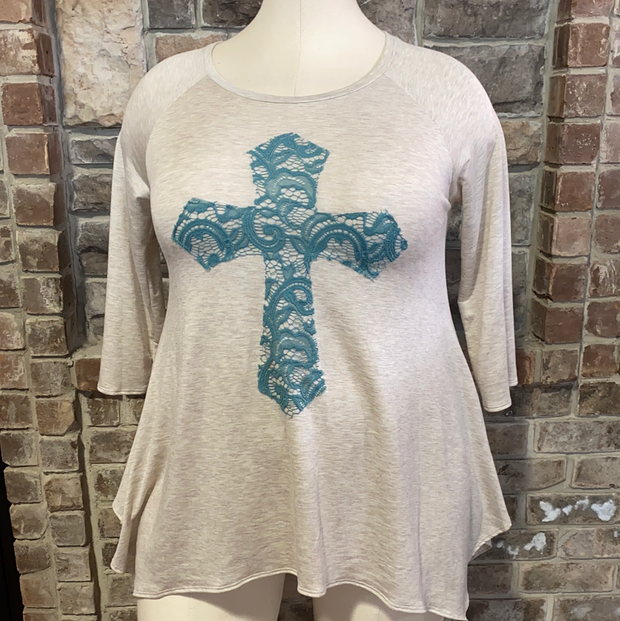 29 GT-D {Don't Cross Me} Oatmeal Blue Cross Detail Top PLUS SIZE XL 2X 3X
