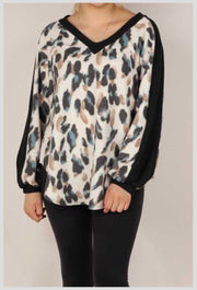 CP-A {Easily Swayed} Black Ivory Mocha Animal Print Knit Top PLUS SIZE XL 2X 3X
