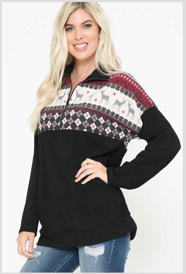 26 CP-F {Ring The Bell} SALE!!  Black Burgundy Reindeer Pullover PLUS SIZE XL 2X 3X