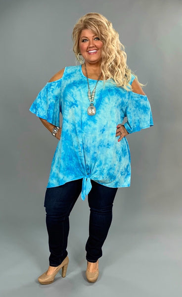 OS-O {Something To Brag About} Blue & Ivory Tie Dye Tunic