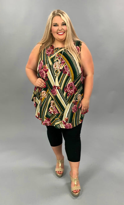 SV-C {Twisted Floral} Green/Multi Floral Print Tunic EXTENDED PLUS SIZE 3X 4X 5X