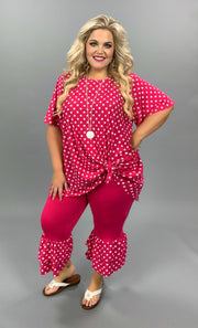 SET-A (Rocking My Dots) Pink Polka Dot Set (Top & Bottom) EXTENDED PLUS SIZE 3X 4X 5X 6X CURVY BRAND SALE!!