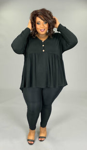SLS- G (Beauty Within) Black Babydoll Tunic With Button Detail EXTENDED PLUS SIZE 3X 4X 5X 6X SALE!!