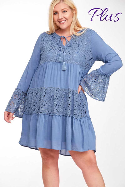 52 SLS-A (Barn Dance) Blue Tiered Dress with Lace Accent 1X2X3X Plus Size