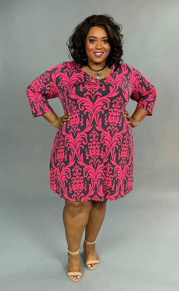 PQ-Z {Special Occasion} Fuchsia Damask Print Dress Extended Plus