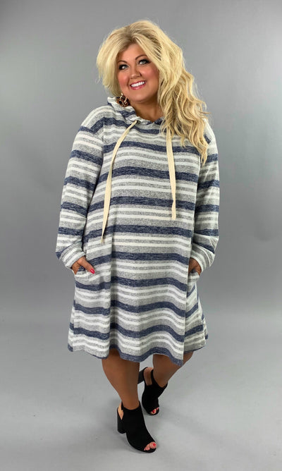 "HD-X {I'm All In} ""UMGEE"" Striped Hoodie Dress with Pockets SALE!!"