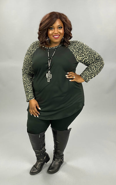 CP-Z {From Time To Time} Black Grey Leopard Sleeve Top BUTTER SOFT EXTENDED PLUS SIZE 3X 4X 5X