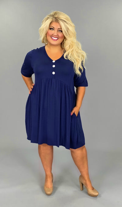 SSS-M (New In Town) Navy Babydoll Dress W/ Button Detail PLUS SIZE 1X 2X 3X