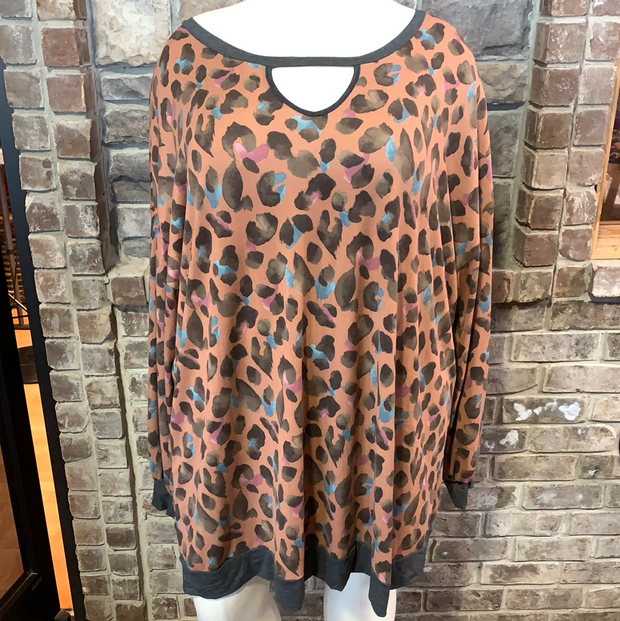 11-19 CP-G {Fearless Soul} Mauve Animal Print Keyhole Dress CURVY BRAND EXTENDED PLUS SIZE 3X 4X 5X 6X